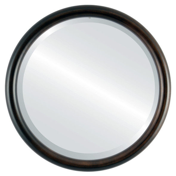 Bevelled Mirror - Pasadena Round Frame - Rubbed Bronze