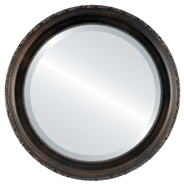Beveled Mirror - Kensington Round Frame - Rubbed Bronze