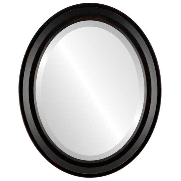 Beveled Mirror - Newport Oval Frame - Rubbed Bronze