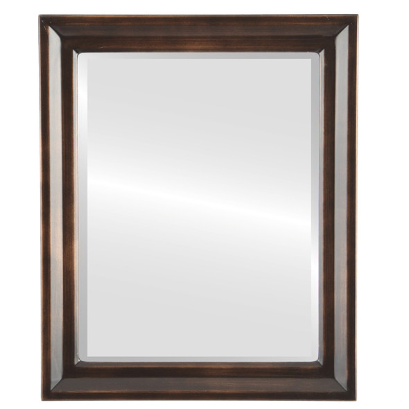 Beveled Mirror - Newport Rectangle Frame - Rubbed Bronze