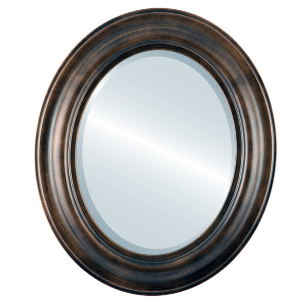 Beveled Mirror - Lancaster Oval Frame - Rubbed Bronze