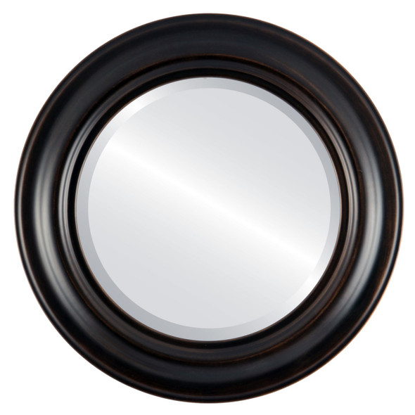 Beveled Mirror - Lancaster Round Frame - Rubbed Bronze