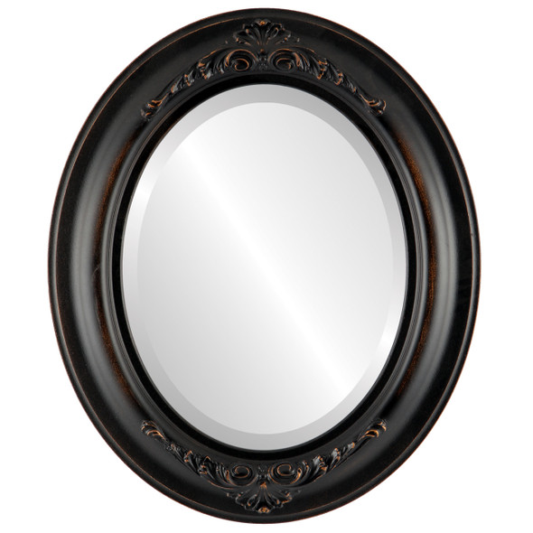 Beveled Mirror - Winchester Oval Frame - Rubbed Bronze
