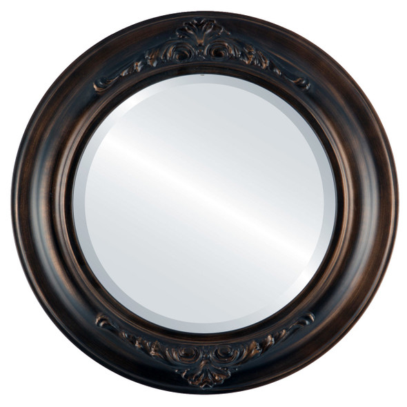 Beveled Mirror - Winchester Round Frame - Rubbed Bronze