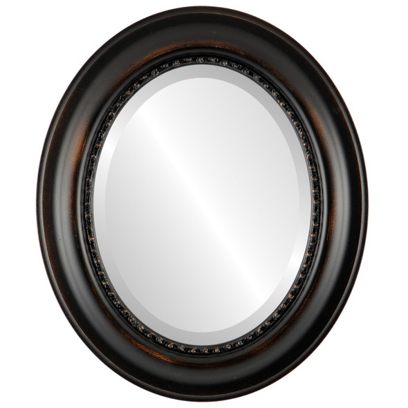 Beveled Mirror - Chicago Oval Frame - Rubbed Bronze
