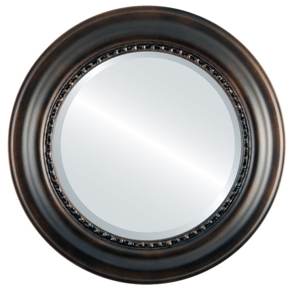 Beveled Mirror - Chicago Round Frame - Rubbed Bronze