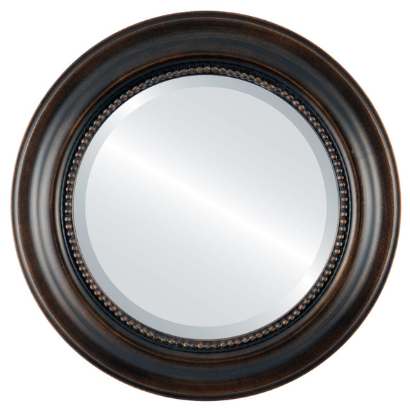 Beveled Mirror - Heritage Round Frame - Rubbed Bronze