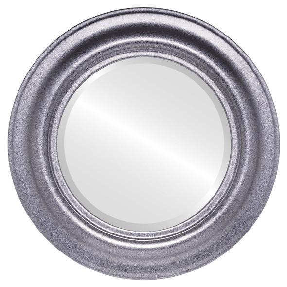 Beveled Mirror - Lancaster Round Frame - Black Silver