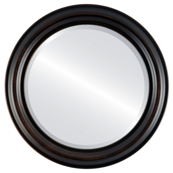 Beveled Mirror - Philadelphia Round Frame - Rubbed Bronze