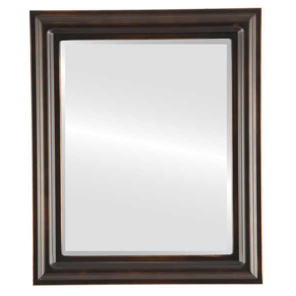 Beveled Mirror - Philadelphia Rectangle Frame - Rubbed Bronze