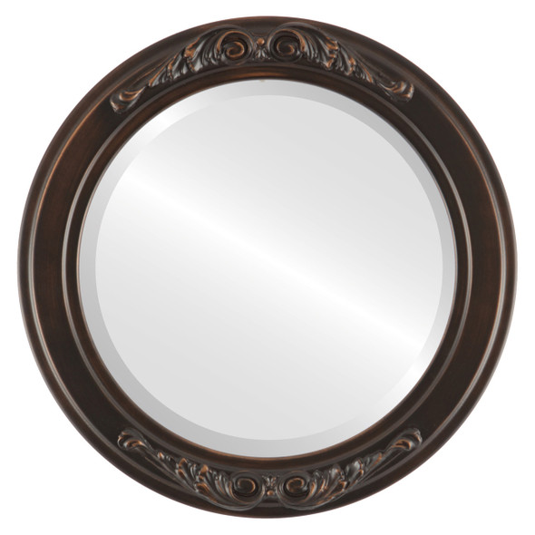 Beveled Mirror - Florence Round Frame - Rubbed Bronze