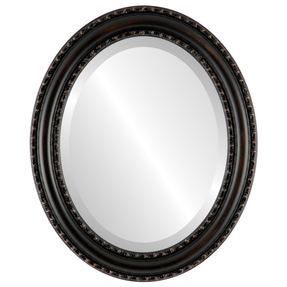 Beveled Mirror - Dorset Oval Frame - Rubbed Bronze
