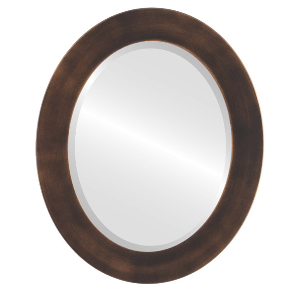 Beveled Mirror - Cafe Oval Frame - Rubbed Bronze