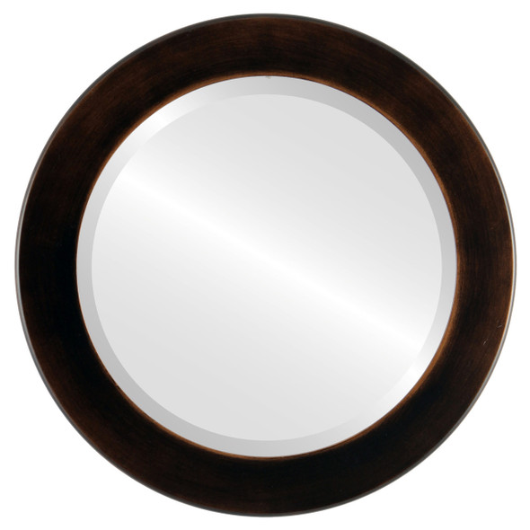 Beveled Mirror - Cafe Round Frame - Rubbed Bronze