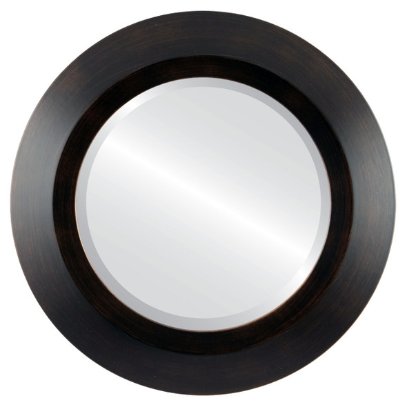 Beveled Mirror - Veneto Round Frame - Rubbed Bronze