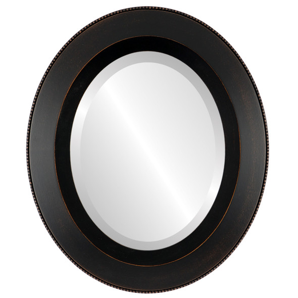 Beveled Mirror - Lombardia Oval Frame - Rubbed Bronze