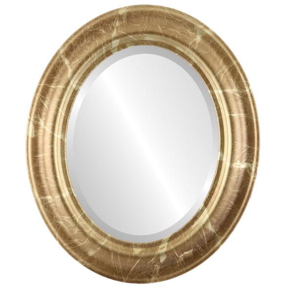Beveled Mirror - Lancaster Oval Frame - Champagne Gold