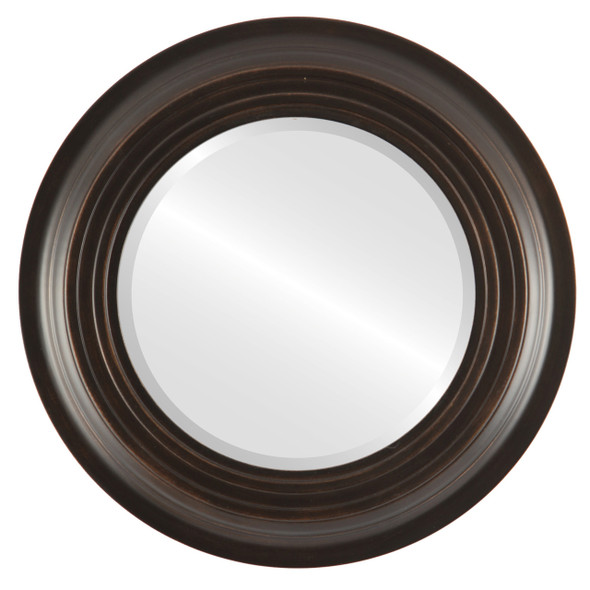 Beveled Mirror - Imperial Round Frame - Rubbed Bronze