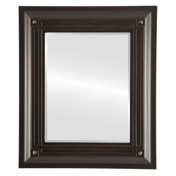Beveled Mirror - Imperial Rectangle Frame - Rubbed Bronze