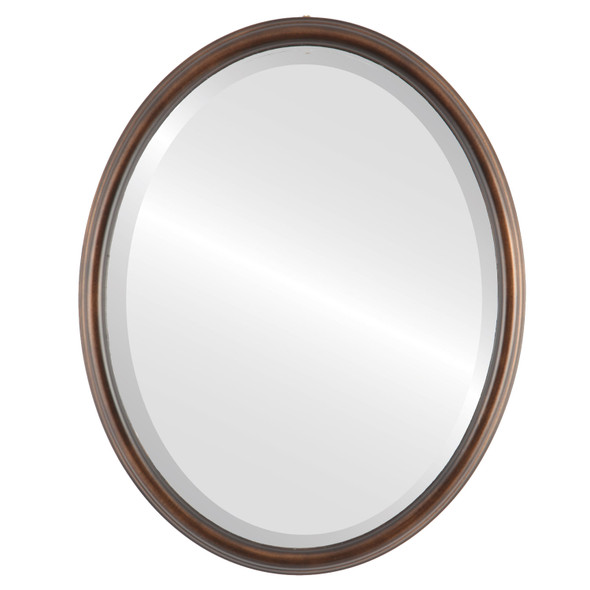 Beveled Mirror - Hamilton Oval Frame - Rubbed Bronze with Silver Lip