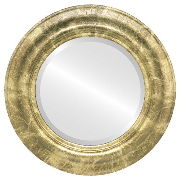 Beveled Mirror - Lancaster Round Frame - Champagne Gold