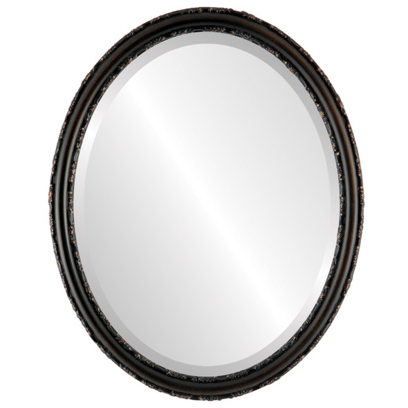 Beveled Mirror - Virginia Oval Frame - Rubbed Bronze