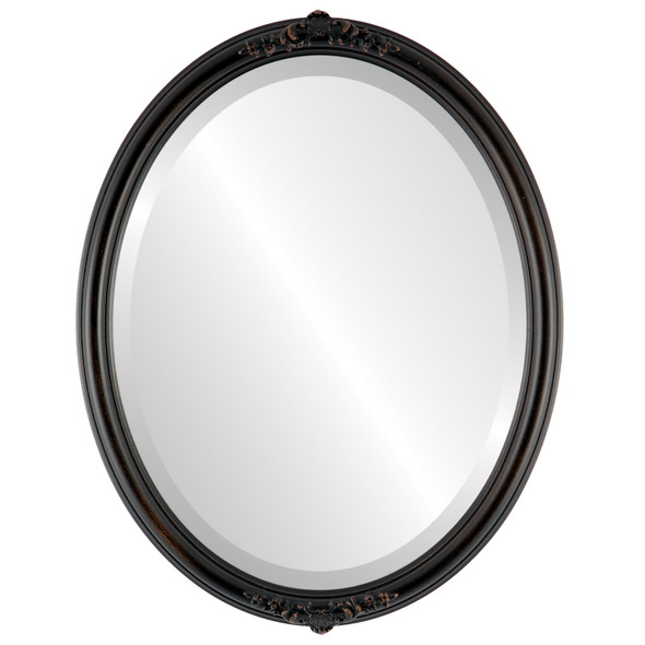 Beveled Mirror - Contessa Oval Frame - Rubbed Bronze