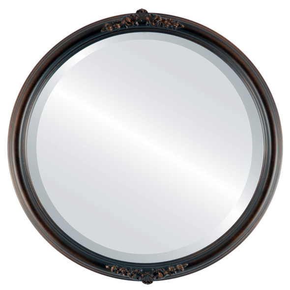 Beveled Mirror - Contessa Round Frame - Rubbed Bronze