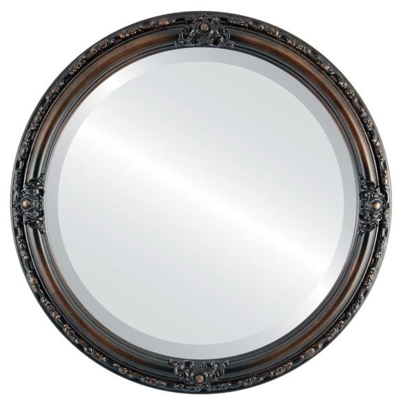 Beveled Mirror - Jefferson Round Frame - Rubbed Bronze
