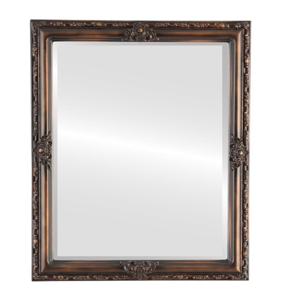 Beveled Mirror - Jefferson Rectangle Frame - Rubbed Bronze