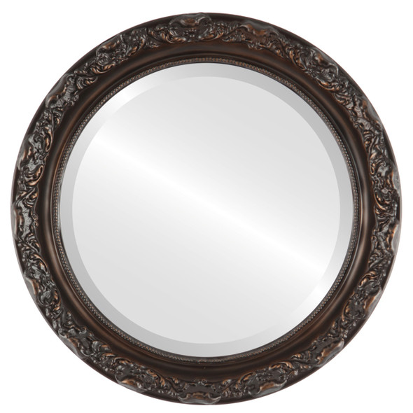 Beveled Mirror - Rome Round Frame - Rubbed Bronze