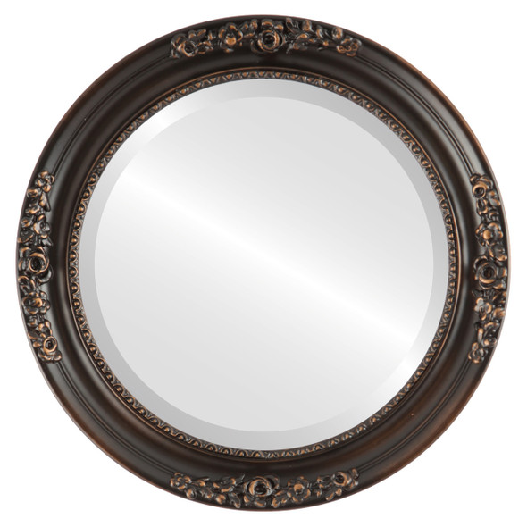 Beveled Mirror - Versailles Round Frame - Rubbed Bronze