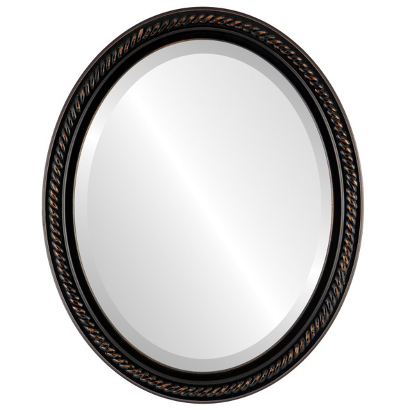 Beveled Mirror - Santa Fe Oval Frame - Rubbed Bronze