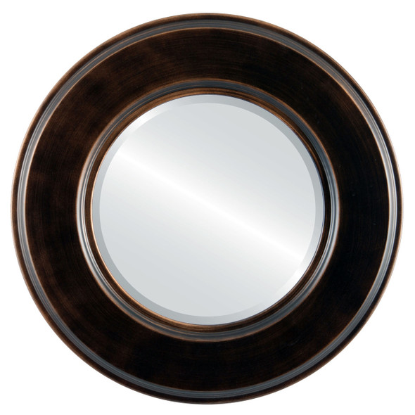 Beveled Mirror - Marquis Round Frame - Rubbed Bronze