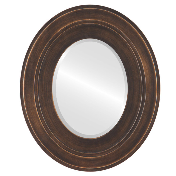 Beveled Mirror - Palomar Oval Frame - Rubbed Bronze
