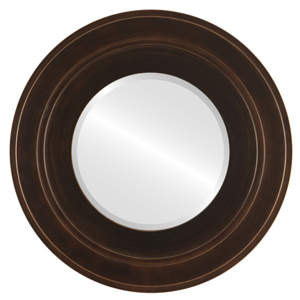 Beveled Mirror - Palomar Round Frame - Rubbed Bronze
