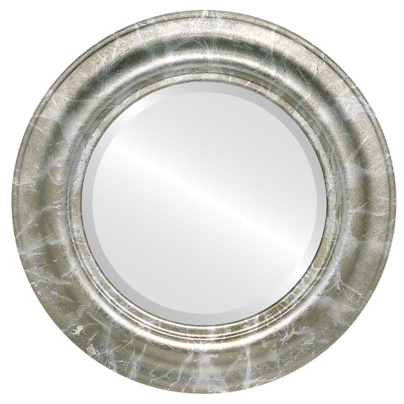 Beveled Mirror - Lancaster Round Frame - Champagne Silver