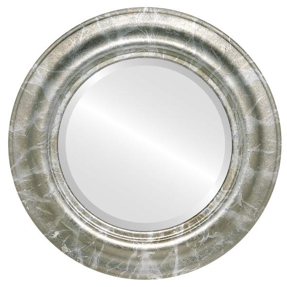Beveled Mirror - Lancaster Round Frame - Champagne Silver