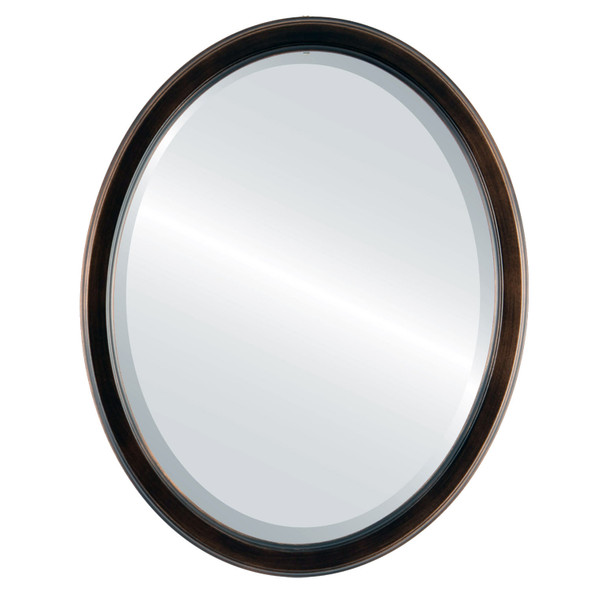 Beveled Mirror - Toronto Oval Frame - Rubbed Bronze