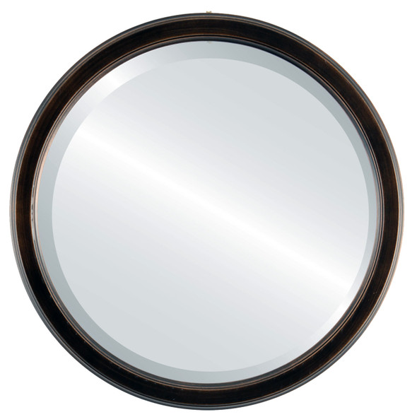 Beveled Mirror - Toronto Round Frame - Rubbed Bronze