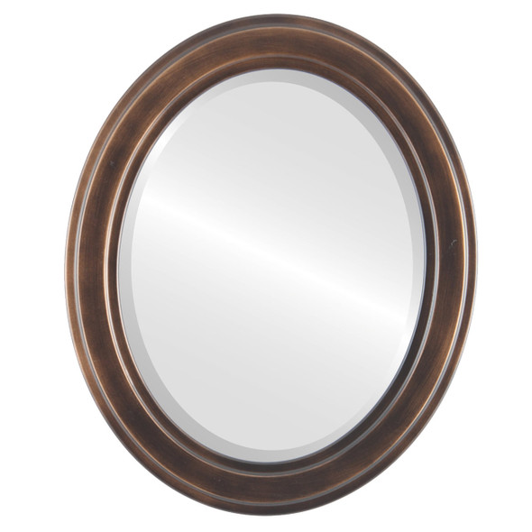 Beveled Mirror - Wright Oval Frame - Rubbed Bronze