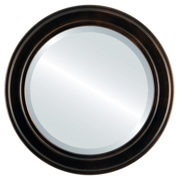 Beveled Mirror - Wright Circle Frame - Rubbed Bronze