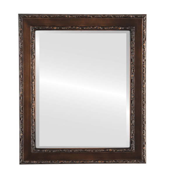 Beveled Mirror - Monticello Rectangle Frame - Rubbed Bronze