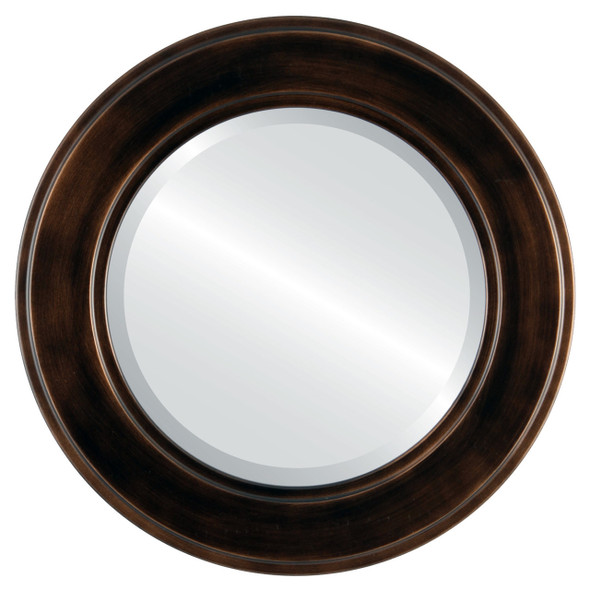 Beveled Mirror - Montreal Round Frame - Rubbed Bronze