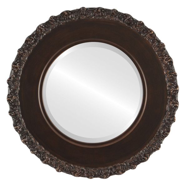 Beveled Mirror - Williamsburg Round Frame - Rubbed Bronze