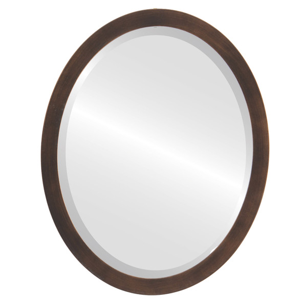 Beveled Mirror - Manhattan Oval Frame - Rubbed Bronze
