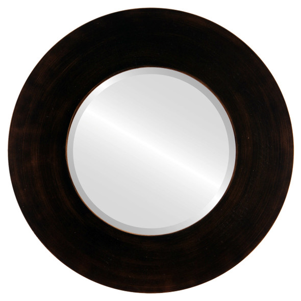 Beveled Mirror - Tribeca Round Frame - Rubbed Bronze