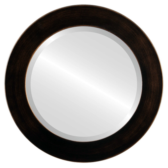 Beveled Mirror - Avenue Round Frame - Rubbed Bronze