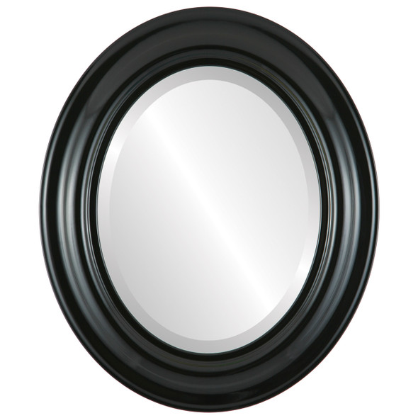 Beveled Mirror - Lancaster Oval Frame - Gloss Black