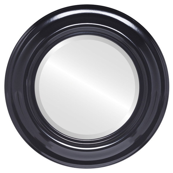 Beveled Mirror - Lancaster Round Frame - Gloss Black